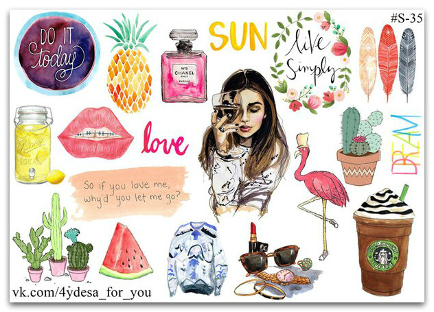 Stickers Pack Watercolor #35