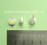 Светодиод мощный 3V 3Wt, цвет - белый холодный (6000-6500К)