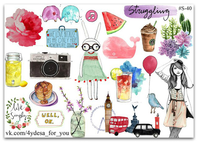 Stickers Pack  Watercolor #40