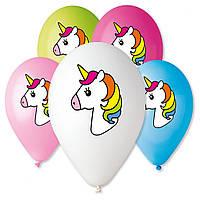 """Воздушные шары 12"""" с рисунком """"Единорог голова"""", 6 цв."""