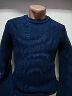 Мужской свитер с орнаментом синего цвета №111