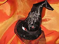 """Шляпка ведьмочки в стиле Halloween с вышивкой паука и вуалью """" Хеллоуин"""""""