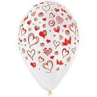 """Воздушные шары 12"""" с рисунком """"Сердца и завитки"""""""