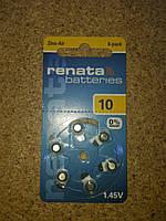 Батарейка RENATA Zinc air 1,4V  ZA10 (95mAH) , фото 1