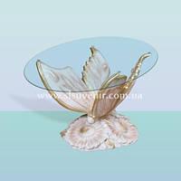 Журнальный стеклянный стол, кофейный (чайный) столик из стекла Бабочка