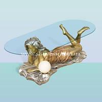 Журнальный интерьерный стеклянный стол, кофейный столик с подсветкой Студентка