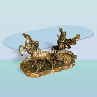 Журнальный стеклянный скульптурный стол, кофейный столик Колесница