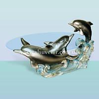 Журнальный стеклянный стол, оригинальный кофейный столик Три дельфина