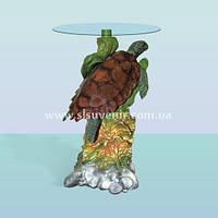 Журнальный стеклянный стол, кофейный столик скульптура Черепаха (Б)