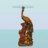 Журнальный стеклянный стол, кофейный круглый столик Павлин (А)
