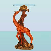 Журнальный стеклянный круглый стол, кофейный столик Жираф (А)