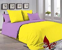 Однотонное постельное белье желтое с лиловым P-0643(3520)