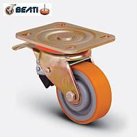 Колеса поворотные большегрузные для тележек чугун - полиуретан с тормозом 200мм
