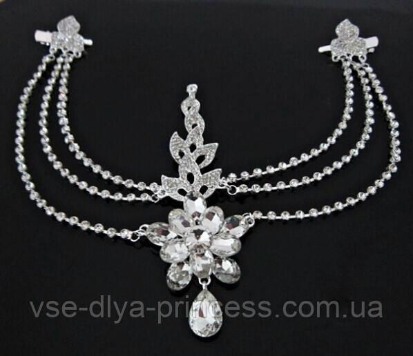 Диадема в восточном стиле, тика под серебро с подвесным кулоном, корона, тиара, высота 15 см.