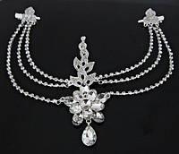 Диадема в восточном стиле, тика под серебро с подвесным кулоном, корона, тиара, высота 15 см., фото 1