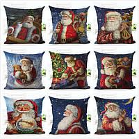 Наволочка Чехол на подушку 45х45 см Санта Клаус