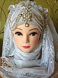 Диадема в восточном стиле, тика под серебро с подвесным кулоном, корона, тиара, высота 15 см., фото 4