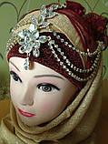 Диадема в восточном стиле, тика под серебро с подвесным кулоном, корона, тиара, высота 15 см., фото 6