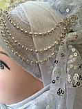Диадема в восточном стиле, тика под серебро с подвесным кулоном, корона, тиара, высота 15 см., фото 5