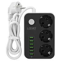 Удлинитель с USB разъемами Ldnio 3 Power Socket 3.4A 6usb (SE3631)