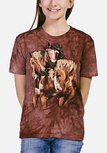 3D футболка для девочки The Mountain р.XL 13-15 лет футболки детские с 3д рисунком (Лошади)