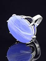 Кольцо женское с голубым агатом