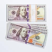 "Сувенірні гроші ""100 доларів"" папір глянець (80шт./уп.)"