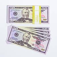 "Сувенірні гроші ""50 доларів"" папір глянець (80шт./уп.)"