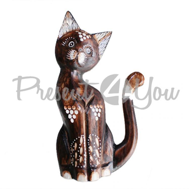 Деревянная статуэтка кот малах-капелька, h-30 см