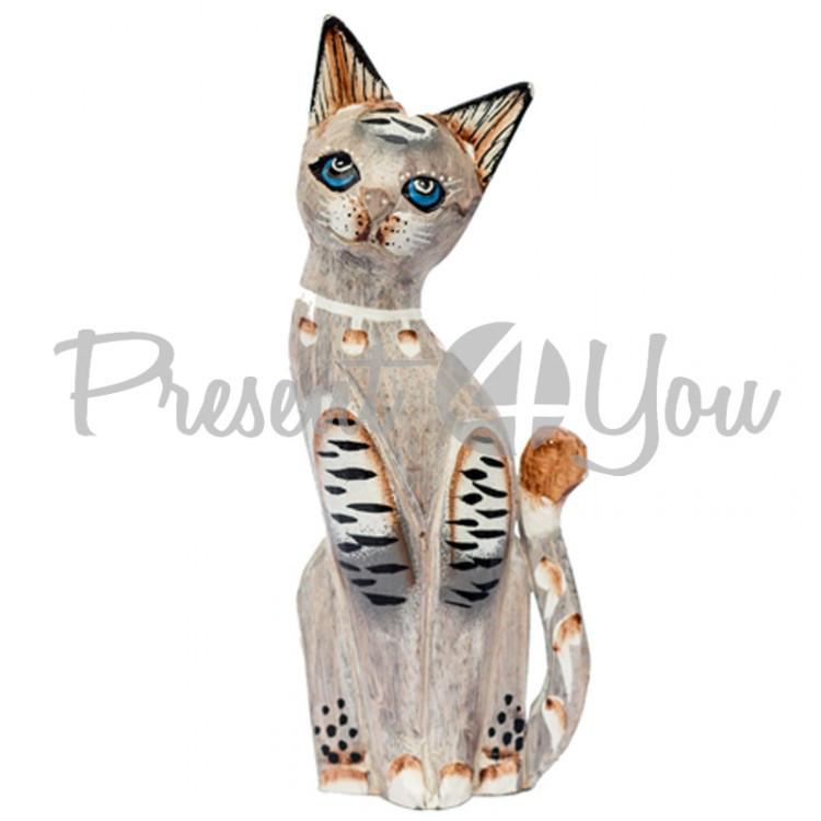 Деревянная статуэтка кот «Пастель» , h-30 см