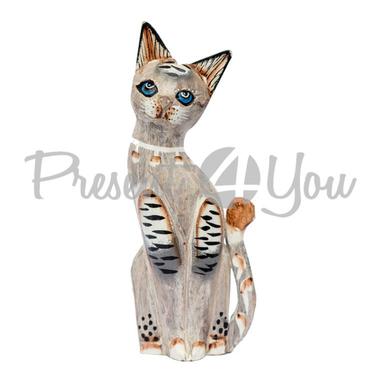 Деревянная статуэтка кот «Пастель» , h-25 см