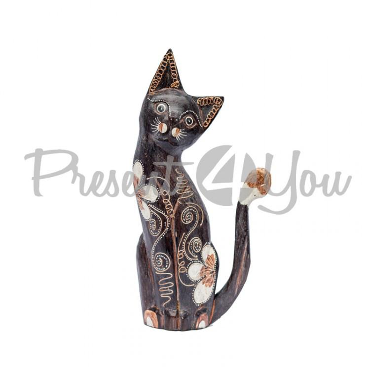 Деревянная статуэтка кот «Магнолия», h-20 см