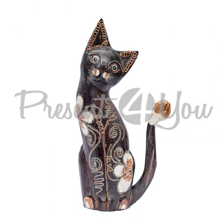 Деревянная статуэтка кот «Магнолия», h-27 см