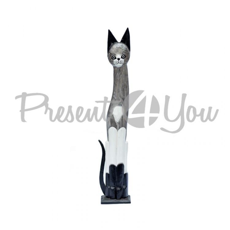 Деревянная статуэтка кот серо-черный на подставке, h-60 см