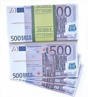 """Сувенірні гроші """"500 євро"""" папір глянець (80шт./уп.)"""