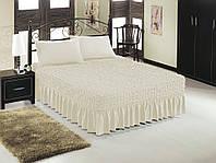 Чехол на кровать + 2 наволочки ESV Home (кремовый) Турция , фото 1