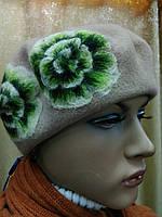 Береты TONAK  из мягкой шерсти с цветком р-р 56-57, фото 1