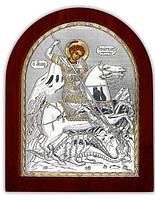"""Икона серебряная """"Святой Георгий Победоносец"""" 200х250мм (Греция)"""