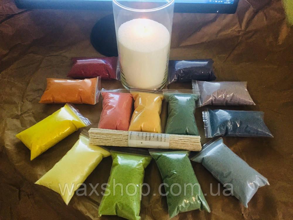 Цветные насыпные свечи, 100 грамм + фитиль