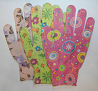 Перчатки рабочие Женские с цветами