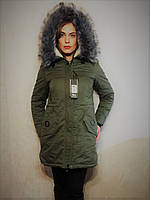 Хит сезона - Хлопковая Парка Хаки! Зимняя парка De Lama с шикарным искусственным мехом на объемном капюшоне