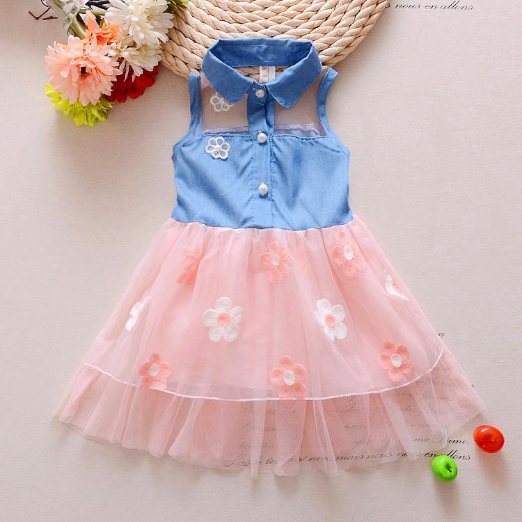 Летнее платье для девочки джинсовый верх и фатиновая юбка