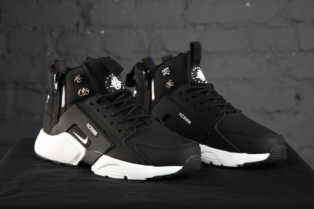 91642cf6 Мужские зимние кроссовки Nike Air Huarache (в стиле Найк Хуарачи)  черно-белые