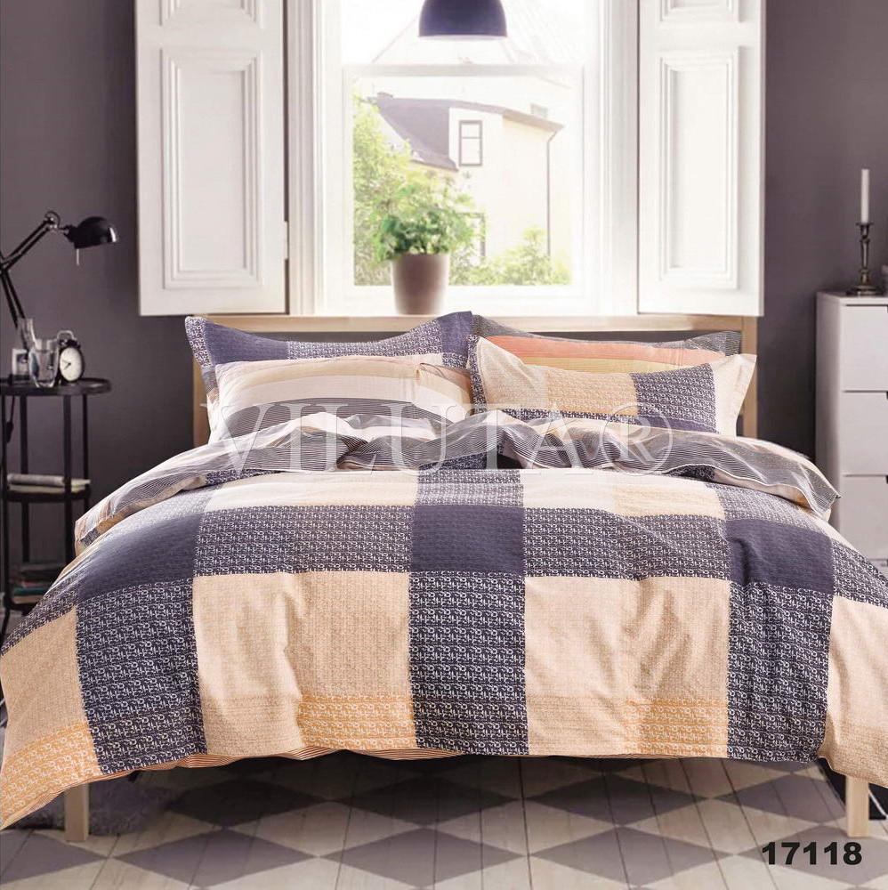 Двуспальный набор постельного белья 180*220 из Ранфорса №17118 Viluta™