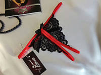 Стринги с открытой интимной зоной Черно-красные. Размеры от XS до XXL