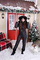 Сдельный зимний женский комбинезон с капюшоном