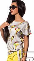 Элегантная женская шелковая блуза батал большие размеры
