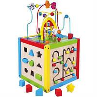 """Игрушка Viga Toys """"Занимательный кубик"""" (58506), развивающий кубик, деревянный игровой центр"""