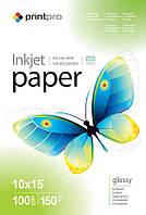 Фотобумага PrintPro, глянцевая, A6 (10x15), 150 г/м2, 100 л (PGE1501004R)