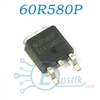 60R580P, Mosfet транзистор, N-channel, 650V 8A, TO-252